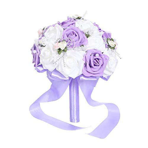 TwoCC Braut Hochzeitssträuße Kreative Hochzeit Liefert Hand, Die Gefälschte Blumensträuße Roses Pearl Brautjungfern-Hochzeits-Blumenstrauß Bridal Artificial Silk Flowers Hält