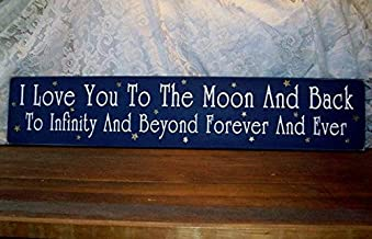 CELYCASY I Love You to The Moon and Back Wood Sign Infinity and Beyond Wall Decor, Nursery Decor, Wall Art