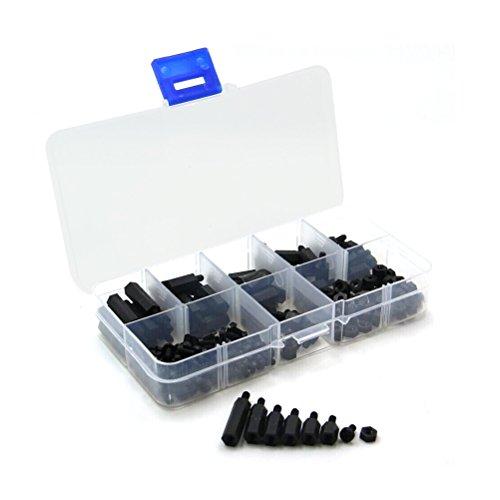 WINOMO 300pcs M3 Nylon entretoises hexagonales vis écrou Stand-Off en Plastique Accessoires Assortiment Kit
