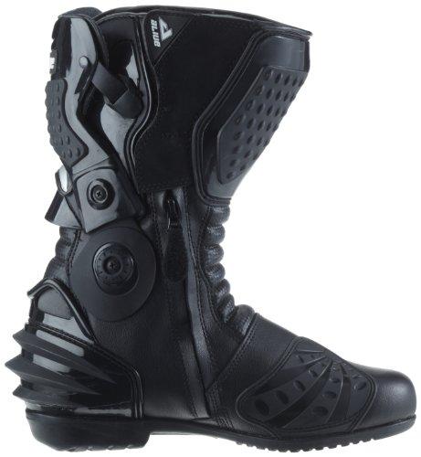 Protectwear TS-006-43 Motorradstiefel Racing aliue, Wasserabweisend aus schwarzem Leder mit aufgesetzten Hartschalenprotektoren, Größe 43, Schwarz - 10
