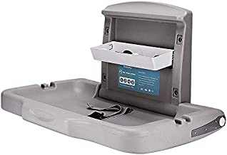Modundry Fold-Down Baby Changing Diaper Station - Horizontal Wall Mounted, Sturdy & Durable with Safety Straps for Commercial Bathrooms(1 White Granite)