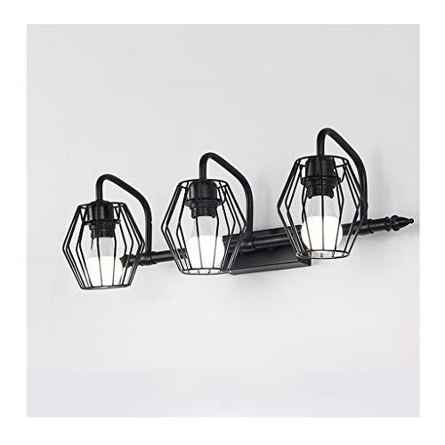 Lámpara Luz delantera de espejo LED, luz de imagen retrovisor de gabinete de espejo de vanidad para baño, lámpara de pared retro de 3 cabezales [Clase de eficiencia energética A ++] Luces de baño