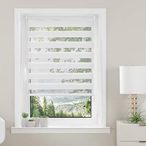 Magiea Store Enrouleur Jour et Nuit avec ou sans Perçage, 50 x 120 cm, Blanc