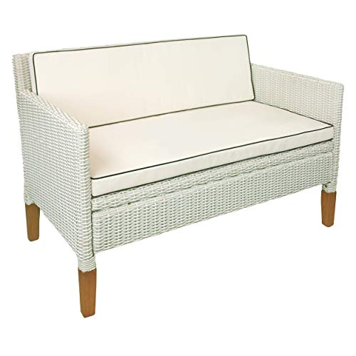 indoba Sofa 2,5-Sitzer Havanna-Polyrattan und Holz-Serie Havanna-IND-70127-SO Gartensofa, weiß Used Look