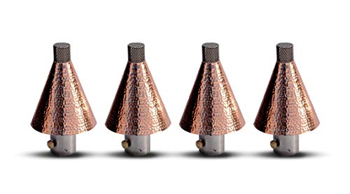Big Kahuna Outdoor Gas Torches - Glamorous Propane or Natural Gas Tiki Style Torch Head Will Help Set the Mood at Your Next Party - Outdoor Lights for Landscape Lighting, Set of 4 (Hammered Copper)