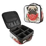 Bolsa de Maquillaje para Perro con diseño de Carlino y sandía, Impermeable, Desmontable, Bolsa de Aseo portátil