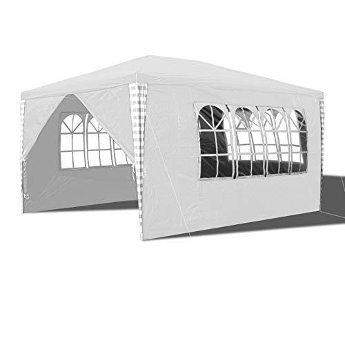 Hengda 3x4m Pavillon Wasserdicht Gartenpavillon, UV-Schutz Festzelt, Stabiles Partyzelt mit 4 Seitenteilen für Party Festival Messestände