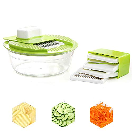 HHFZH Vegetable Slicer Dicer, 5 in 1 Vegetable and Onion Choppers, Mandolin Slicer and Food Dicer Multifunctional Cutter Ribbon Slicer Best for Potatoes, Carrots