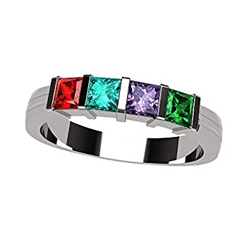 NANA Princess Channel Set Mothers Ring with 1 to 6 Simulated Birthstones - Silver - Size 6.5