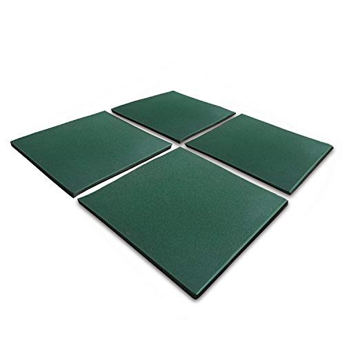 "4 PCS Interlocking Rubber Floor Tile 19.7""x19.7""x1.18"", 30 mm Thick Heavy Duty Fitness Equipment Rubber Tiles for Playground Floor, Outdoor Floor, Exercise Equipment Mats and Garage Floors -Green"