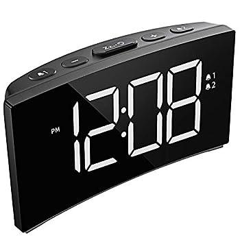 PICTEK Alarm Clock Digital Clock with Dual Alarm 6-Level Brightness Dimmer Adjustable Volume with 3 Alarm Sound Clear White Digit 12/24Hr Alarm Clock for Bedroom Office  No USB Power Adapter