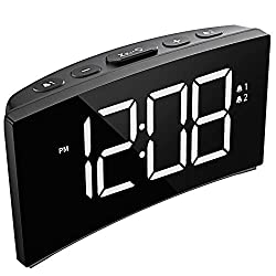PICTEK Alarm Clock, Digital Clock with Dual Alarm, 6-Level Brightness Dimmer, Adjustable Volume with 3 Alarm Sound, Clear White Digit, 12/24Hr, Alarm Clock for Bedroom Office (No USB Power Adapter)