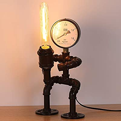 HAITRAL Industrial Table Lamp -Retro Steam Punk Robot Lamp with a Water Meter Decor,Creative Fun Water Pipe Desk Lamp for Bedrooms,Bar, Restaurant (Not Include Bulb)