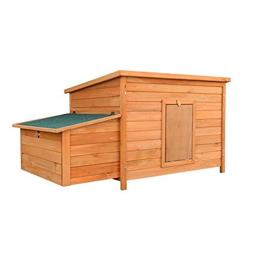 Pollaio in legno marrone rossiccio 136x74x70cm con cassetta di nidificazione e vassoio estraibile