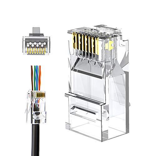 RJ45 Pass Through Connectors, CableCreation 100-Pack Cat6/Cat5e Gold...