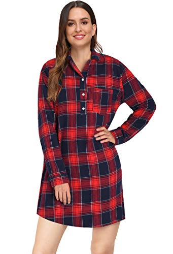 Latuza Women's Cotton Flannel Nightgown 2X Red