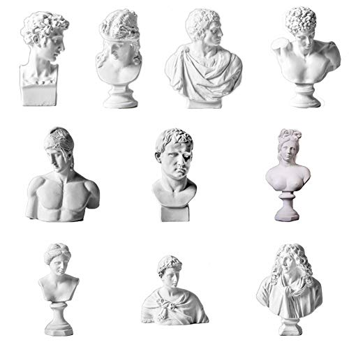 ARRIVEOK Famous Sculpture Resin Bust Statue Greek Mythology Figurine Gypsum Portraits Nordic Style Drawing Practice Crafts Home Decor (A Set of 10)