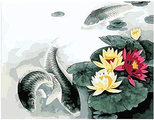 garantía de crédito OKOUNOKO Pictures Painting by Numbers DIY DIY DIY Digital Oil Painting On Canvas Romantic Lotus and Fish Home Made Decoration Sin Marco 40X50Cm  el mas de moda