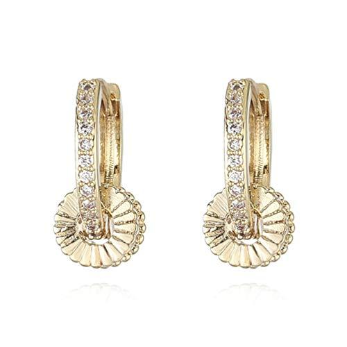 Pendientes de aro chapados en oro de 14 quilates para mujer con buena suerte, con circonita, para mujer, color negro