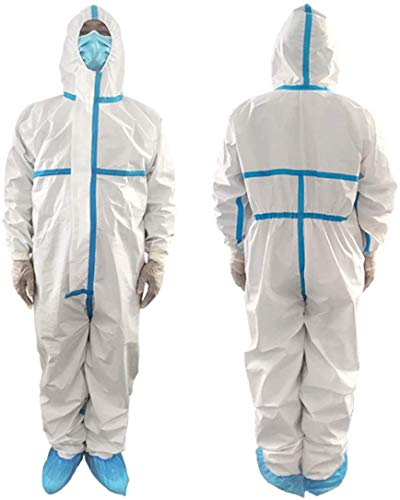 Cleaing 5 Stück XL Einwegoverall Schutzanzug Maleranzug Schutzkleidung Einweg Anzug mit elastischen Handgelenken, Knöcheln und Kapuze
