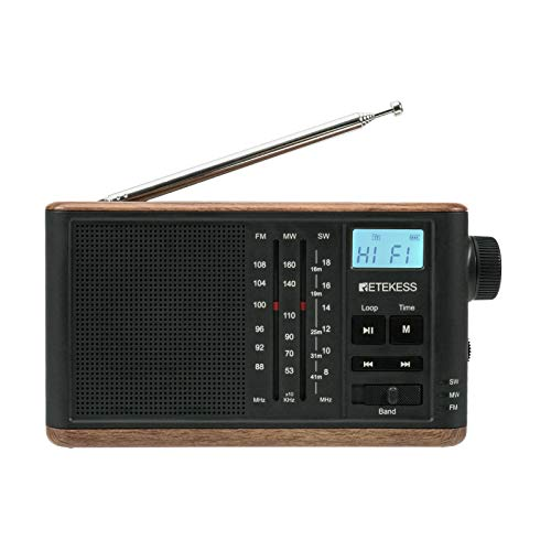 Retekess TR613 Portable Shortwave Radios, AM FM Radios with Best Reception, Transistor Radio Support TF Card and Backlight LCD Display (Black)
