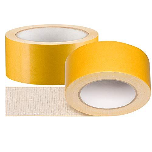 2 x Profi Doppelseitiges Klebeband | Teppichklebeband doppelseitig 50 mm x 25 m | Teppich-Verlegeband Doppelklebeband | Hohe Klebekraft, stark klebend | Teppichband für strukturierte Untergründe