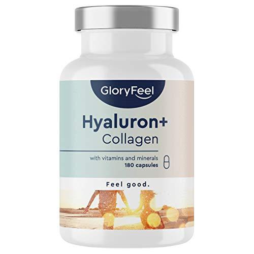 Hyaluronzuur + Collageen met Vitamine C van Acerloa, Biotine, Selenium, Zink en Bamboe Extract - 180 veganistische capsules - exclusief huid en haar complex - geproduceerd in Duitsland