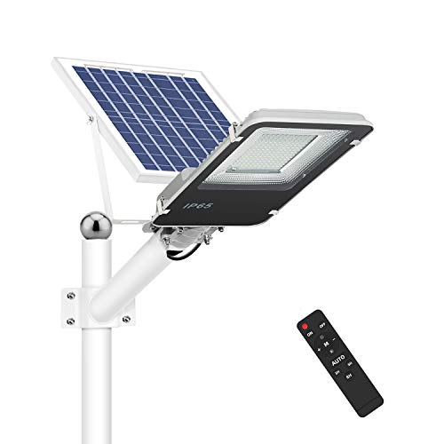 100W Solar Street Lights Outdoor, Dusk to Dawn Solar Led Outdoor Light with Remote Control, 6500K Daylight White Security Led Flood Light for Yard, Garden, Street, Playgroud