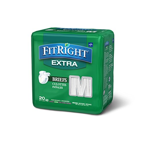 """Price comparison product image FitRight Extra Adult Briefs with Tabs,  Moderate Absorbency,  Medium,  32""""-42"""",  4 packs of 20 (80 total)"""