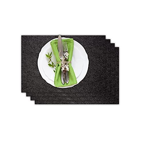 Casoro 4er Platzset aus waschbarem Filz, Platzmatten je 30x44cm in anthrazit, edles Tischset perfekt zu jeder Einrichtung