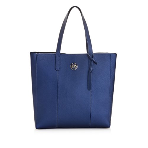 Joy Mangano Women's Metallic Leather Tote Navy Travel, One Size