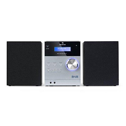 auna MC-20 Dab Minicadena - Equipo estéreo hi-fi , 2 vías , Potencia de Salida: 2x5W , Bluetooth , Pantalla LCD , Sintonizador Digital Dab(+) , Sintonizador analógico VHF , Control Remoto , Plateado