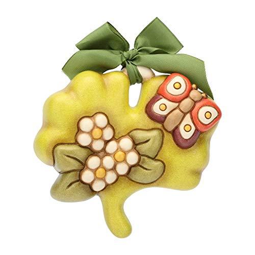 THUN ® - Formella Piccola a Forma di Foglia - Linea Autunno con Fiori e Farfalla, con Farfalla - Ceramica - 11 x 10 cm - Linea I Classici