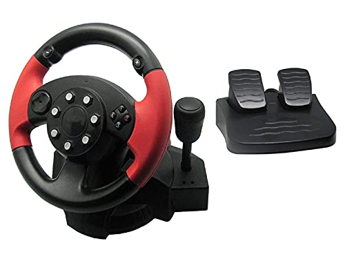 PC Racing Wheel with Pedals, SZD Universal Usb Car Sim Race Steering Wheel for Windows PC, PS3, PS4, Xbox One, Xbox 360, Nintendo Switch Racing Games (Black)