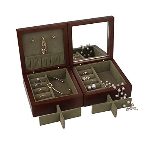TEAYASON Joyero de madera maciza con espejo, organizador de joyas de viaje, cajas de joyería portátiles para mujeres y niñas, regalo de 4.9 x 1.9 x 1.0 cm, 2 cajas de joyería
