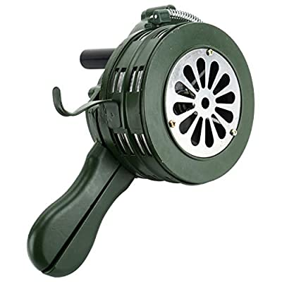 Homend Handheld Air Raid Siren, 110db Hand Loud Crank Operated Air Raid Siren Home Self Protection Security Alarm Siren Aluminum Alloy Crank (110DB Handheld)