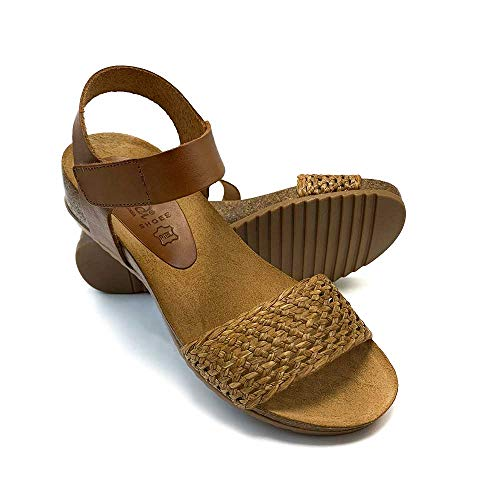 ZAPATISIMOS - Mules Mujer Sandalias de Vestir Punta Abierta Chanclas Cuña Cómodas Ajustable Bio Velcro Plantilla almohadillada Playa Primavera Verano