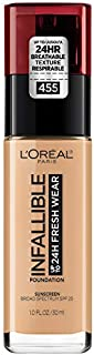 L'Oreal Paris Makeup Infallible Up to 24 Hour Fresh Wear Foundation, Natural Buff, 1 fl; Ounce