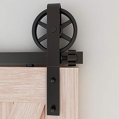 243cm/8FT Schiebetürbeschlag Set Schiebetürsystem Zubehörteil für Schiebetüren Innentüren, Schwarz/Sliding Barn Door Hardware Kit Big Spoke Wheel