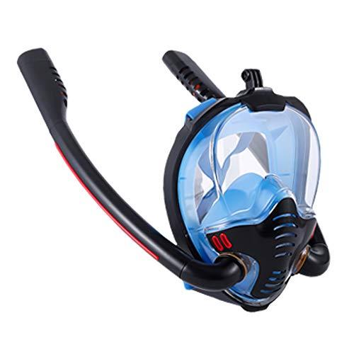 RatenKont Máscara de natación Hombres Adultos Mujeres Mascarilla de Snorkel Doble Aliento Mascara Tubo Silicona Full Seco Scuba Diving Gafas Equipo Blue S/M