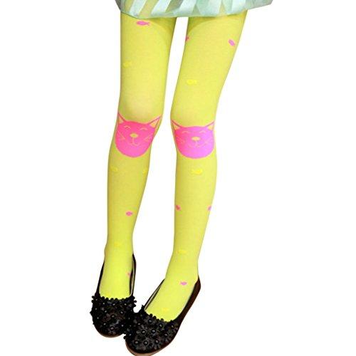 Fulltime® Les Filles D'Automne Collants Barbus Bas Chaussettes Leggings (Jaune)