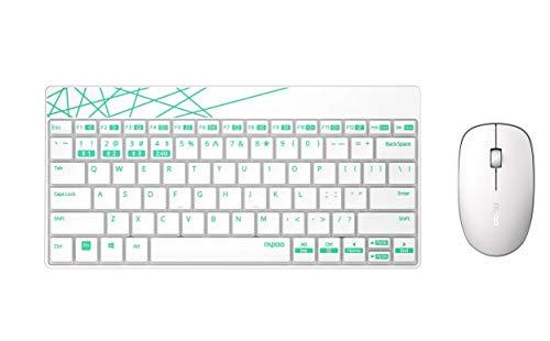 Rapoo 8000 kabellose Tastatur mit Maus, 2,4 GHz Wireless-Verbindung, hochauflösende 1000 DPI-Technik, weiß/grün
