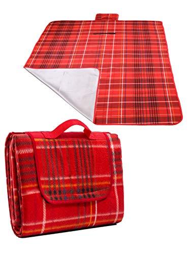 Betz Picknickdecke XXL Reisedecke Stranddecke Campingdecke Isomatte Outdoor wasserdicht Größe 200 x 180 cm Farbe rot
