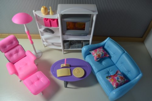 Dollhouse Furniture for Barbie dolls - Entertainment Room Tv Ottoman Cd Shelf