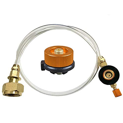 AODOOR Adaptador de repuesto de propano, adaptador de botella de gas, adaptador de propano, adaptador de manguera de gas convertidor, manguera de repuesto para estufa de gas plano para estufa