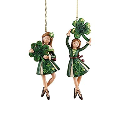 GALLERIE II Irish Girl Dancers Luck of The Irish Happy St. Patrick's Day Clover Décor Christmas (Xmas) Everyday Ornament A/2 Ornament Multi