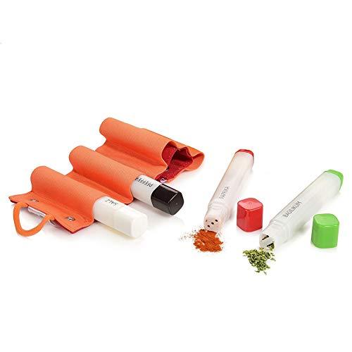 Emsa Gewürzstreuer Set aus Kunststoff 5 teilig | Maße 2x2x14,5 cm | In praktischer Stift-Form, perfekt geeignet für den nächsten Camping Urlaub