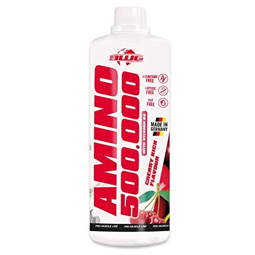 BWG Amino 500.000 Flüssig - Aminosäuren Komplex (mit BCAA`S - hochdosiert, mit Vitamin B6, optimiert, ohne Zuckerzusatz, kalorienarm) 1000ml