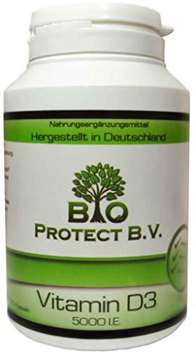 Vitamin D3 5000 IE pro Kapsel- 120 Kapseln mit Depot-Wirkung von Bio Protect BV Das Sonnenvitamin