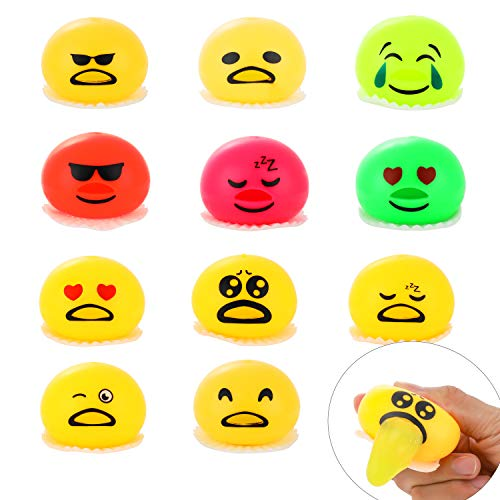 Totem World 11 Emoji Vomit Egg Slime Spitting Putty Squeezer - Squishy Stress Relief Trick Toy Pack for Kids Birthday Party Favors